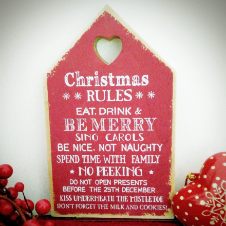 Just £4 Red Wooden Christmas Rules Chunky Block Sign